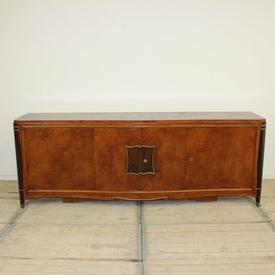 "7'6"" Walnut Art Deco 4 Door Sideboard with Keys"