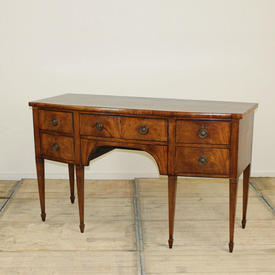 5' Victorian Bow Fronted 4 Drawer Sideboard with  Brass Circular Handles