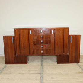 """7'8"""" Rosewood 3 Part Deco Style Sideboard with Chrome Handles"""