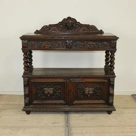 English Oak Ornate Serving Buffet with Cupboard Base & Raised Drawer Unit