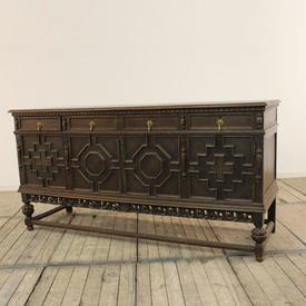 "6'3"" English Oak Sideboard with 4 Drawers & 4 Geometric Pattern Doors"