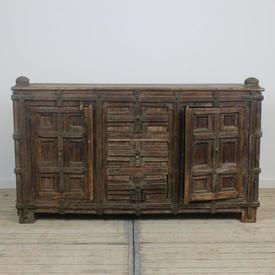4' Oak 3 Drawer & 2 Cupboard Sideboard