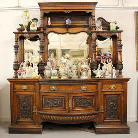 7' Mahogany Victorian 2 Part Sideboard/Dresser with Mirrored Back