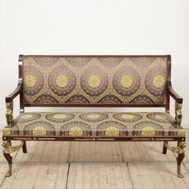 Mahogany Empire Sofa with Ormolu Detail, Brass Griffin Heads Blue & Gold Upholstery