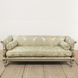 Green & Gilded Frame Georgian Straight Back Sofa in Two Tone Green Damask, 2 Bolsters & Seat Swab