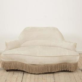 Champagne Velvet Deco Shaped Back Hall Settee