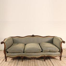 French Style Mahogany Framed 3 Seater Sofa in Pale Blue with Gold Tinged Fabric + 3 Cushions