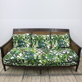 Mahogany Victorian Carved Bergere Settee with White & Green Leaf Pattern Back Cushion & Large Seat Swab