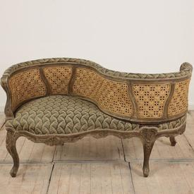 Carved Limed Frame Bergere Love Seat Upholstered in Green Damask