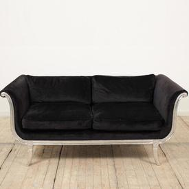 Silver Leaf Shaped Arm 2 Seater Sofa Upholstered in Black Velvet with 4 Cushions