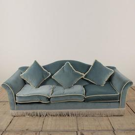 Light Blue Velvet with Cream Piping & Fringe Camel Backed 3 Seater Settee