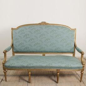 Gilt French Open Arm 3 Seater Settee Upholstered in Aqua Coloured Fabric