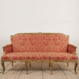 Gilt Framed High Back 3 Seater Settee in Pink Pattern Damask