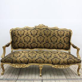 Carved Gilt 3 Seater Open Arm Settee Upholstered in Black & Gold Silk Damask [Thin Arms]
