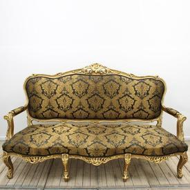 Carved Gilt 3 Seater Open Arm Settee Upholstered in Black & Gold Silk Damask [Thick Arms]