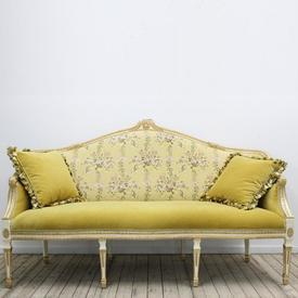 Cream & Gilt Painted Louis Style Settee Yellow Velvet Seat & Chintz Upholstered Back