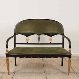 Black & Gilt Painted French Dome Back Salon Sofa with Green Cord Upholstered Seat And Back