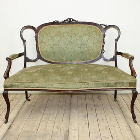 Mahogany Edwardian 2 Seater Settee in Green/ White Floral Pattern Upholstery