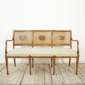 Sheraton Satinwood inlaid 3-Seater Bench/Sofa with Cane Back & Upholstered Seat