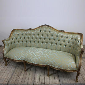 Giltwood Button Back Tub Sofa Upholstered in Pale Green & Gold Silk Damask