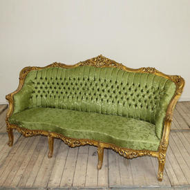 "6'4"" Carved Giltwood Button Back Tub Settee in Green Damask"