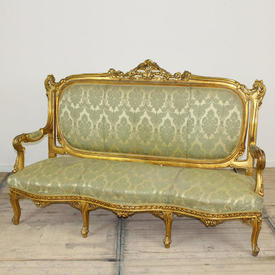"5'10"" Carved Giltwood Open Arm Settee in Green Damask"