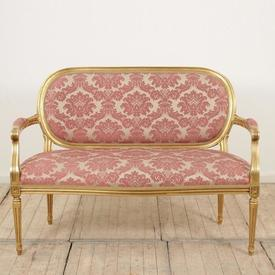 Gilt Frame Louis Style 2 Seater Settee in Pink Damask
