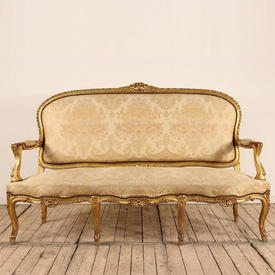 French Carved Giltwood 3 Seater Settee Upholstered in Cream Floral Brocade