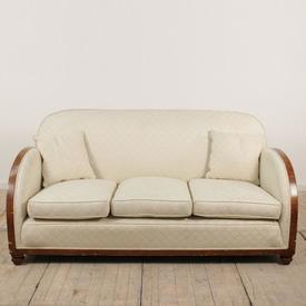 Walnut Art Deco Style Settee in Cream Damask Circular Fabric