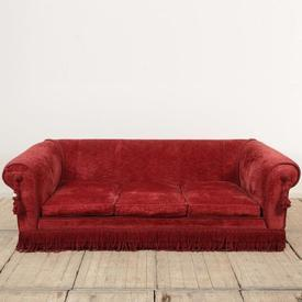Large Red Chenille 3 Seater Sofa