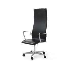 """Black Leather & Ali Highback """"Oxford"""" Desk Chair on Castors"""
