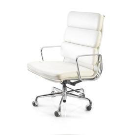 "White Leather & Chrome Ali High Back ""Soft Pad"" Desk Chair on Castors"