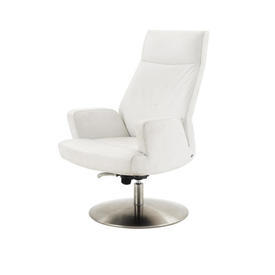 """White Leather """"Ds256"""" Desk Chair on Circ Steel Base"""