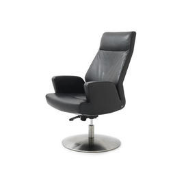 """Black Leather """"Ds256"""" Desk Chair on Circ Steel Base"""