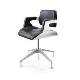 Ali Back & Black Leather Low Back Desk Chair