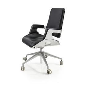 Ali Back & Black Leather High Back Desk Chair