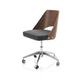 Low Walnut Curved Back & Black Leather Seat Desk Chair on Castors