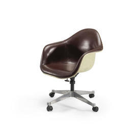 Brown & Cream Retro Desk Chair on Castors