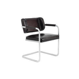 "Black Leather & Ali ""Yves"" Desk Chair"