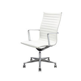 White Ribbed & Chrome High Back Desk Chair