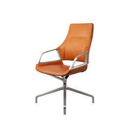 "Tan Leather & Brushed Ali ""Graph"" Low Back Desk Chair"
