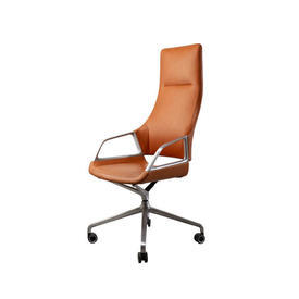 "Tan Leather & Brushed Ali ""Graph"" High Back Desk Chair on Castors"
