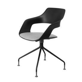 "Matt Black ""Occo"" Swivel Chair with Grey Fabric Seat"