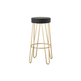 Gold Painted Hairpin Barstool with Black Leather Seat