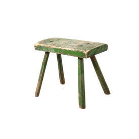 Green Painted Wooden Milking Stool