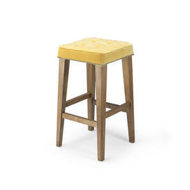 Wooden Leg Square Barstool with Yellow Velvet Studded Seat