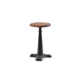 Cast Iron Singer Stool with Wooden Seat