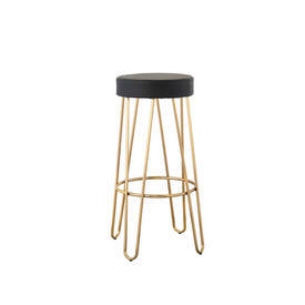 Shiny Gold Hairpin Barstool with Black Leather Seat