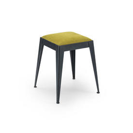 Low Square Black Steele Stool with Yellow Seat Pad