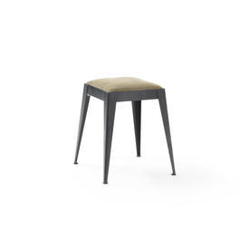Low Square Black Steele Stool with Taupe Seat Pad